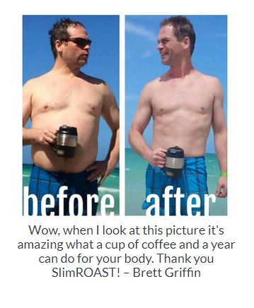 Before and After Results of a young fella from drinking SlimRoast Optimum Coffee