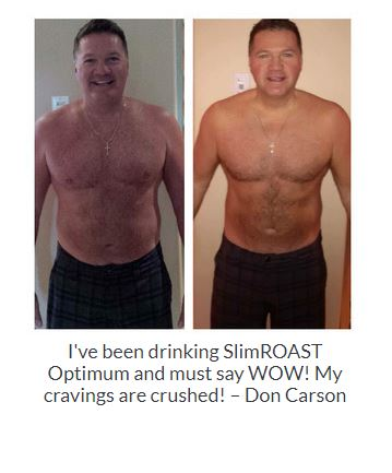 Before and After Results of a gentleman from drinking SlimRoast Optimum Coffee