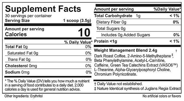 Supplement Facts of Valentus SlimRoast Optimum Coffee