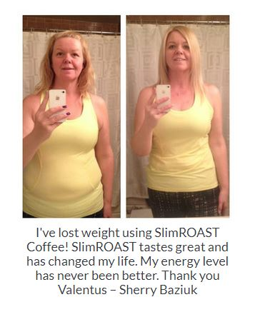 Before and After of a woman from drinking SLimRoast Optimum Coffee